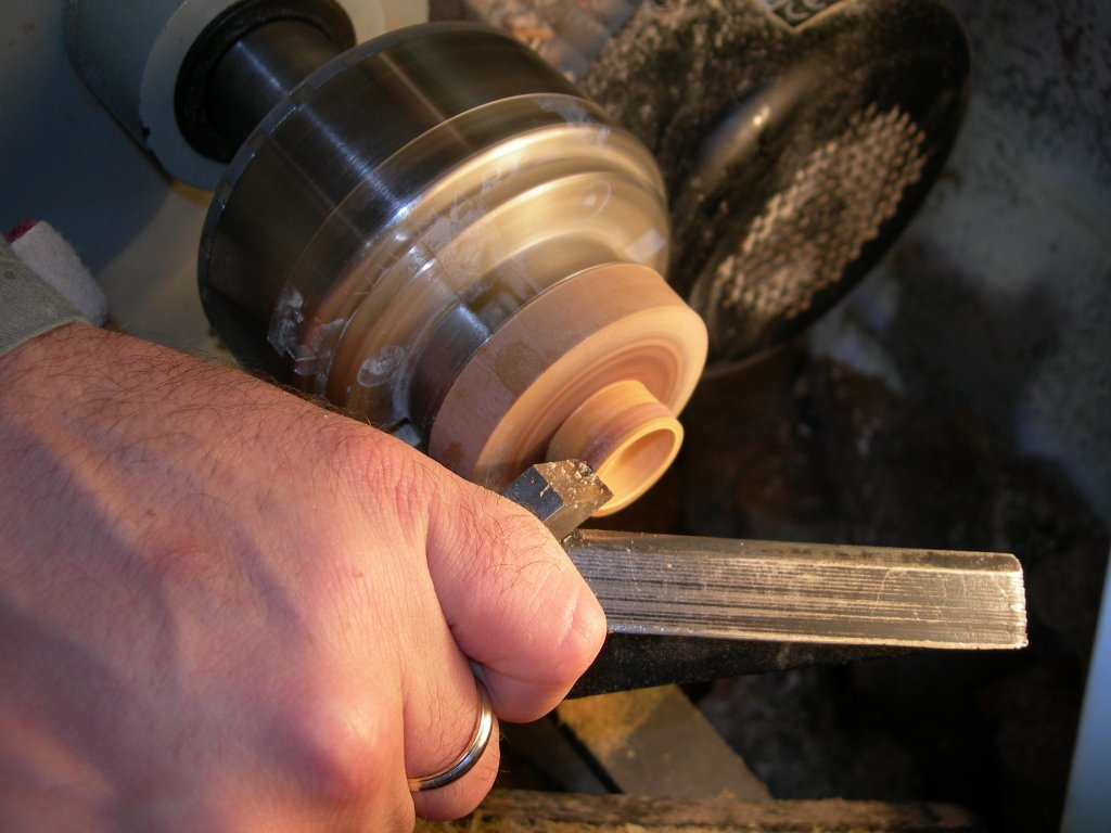 Removing the excess glue from the wood ring